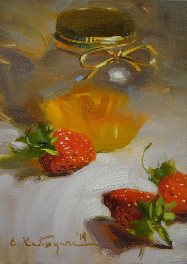 """""""Honey and Strawberries"""" original fine art by Elena Katsyura"""