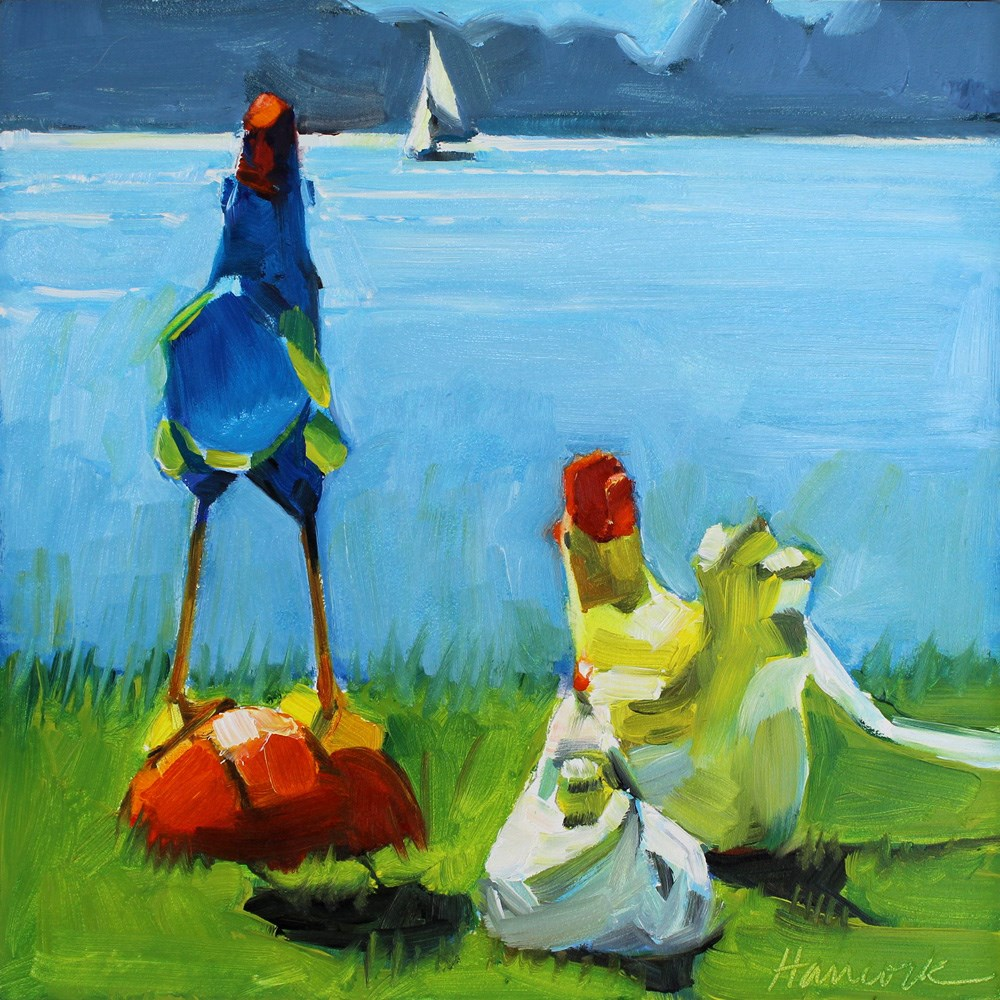 """Traveling Chicken Visits Vashon"" original fine art by Gretchen Hancock"