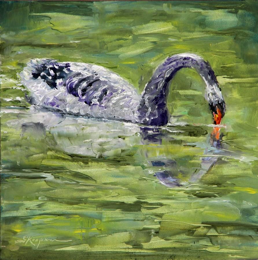 """""""Narcissism on Swan Lake"""" original fine art by Shelley Koopmann"""