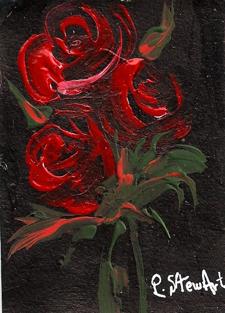 """ACEO 3 Red Roses on Black Acrylic on Black Gesso, Original, OOAK, Flowers"" original fine art by Penny Lee StewArt"