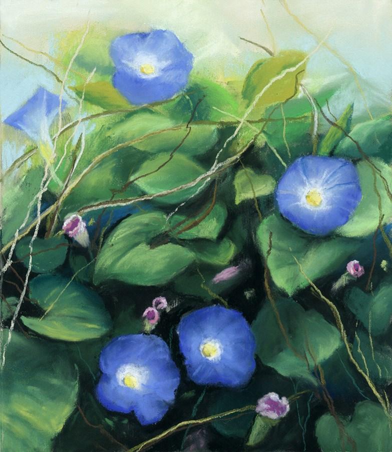 """Morning Glories Bush pastel painting"" original fine art by Ria Hills"