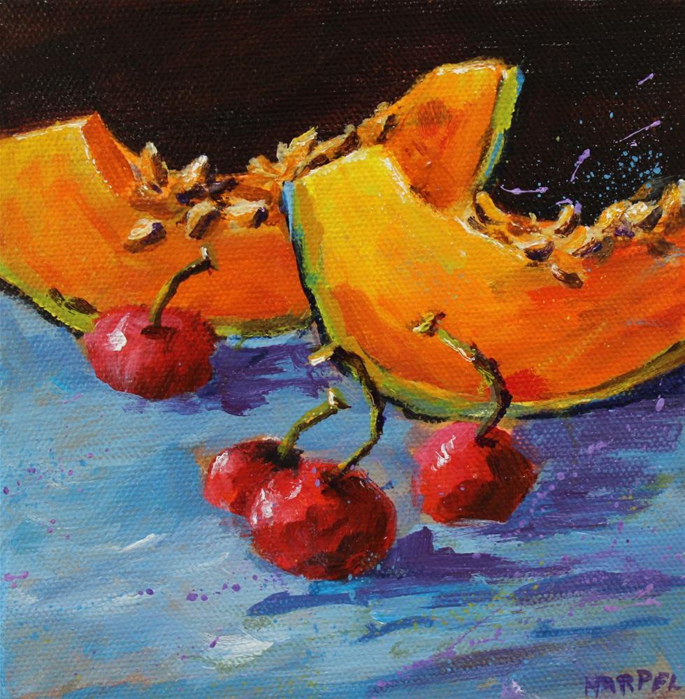 """Original acrylic cherry cantaloupe painting"" original fine art by Alice Harpel"