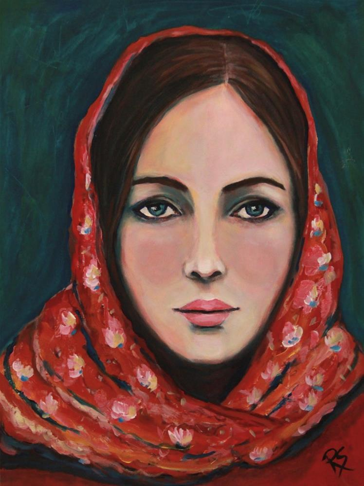 """Woman With the Red Shawl"" original fine art by Roberta Schmidt"