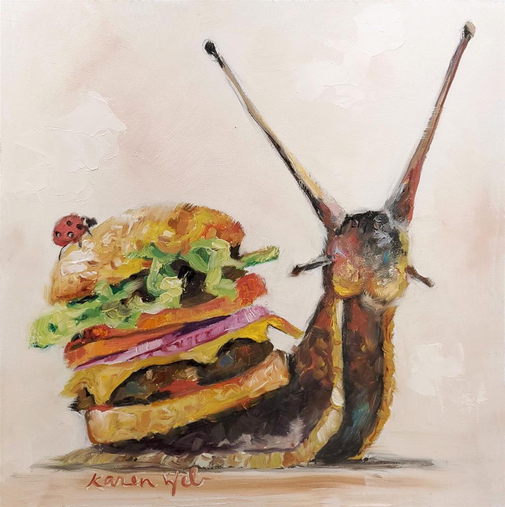 """""""Snail Burger"""" original fine art by Karen Weber"""