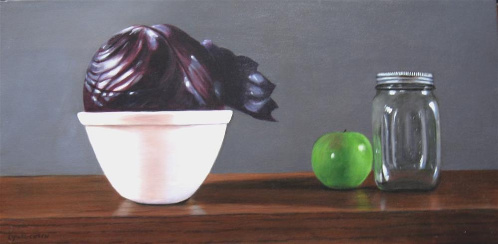"""still life cabbage and apple 12 x 24 inch acrylic on canvas"" original fine art by Linda Yurgensen"