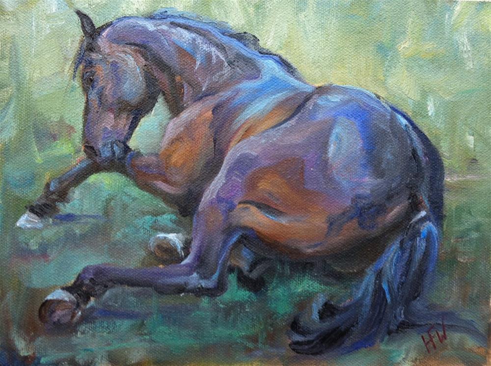 """Lying in green grass"" original fine art by H.F. Wallen"