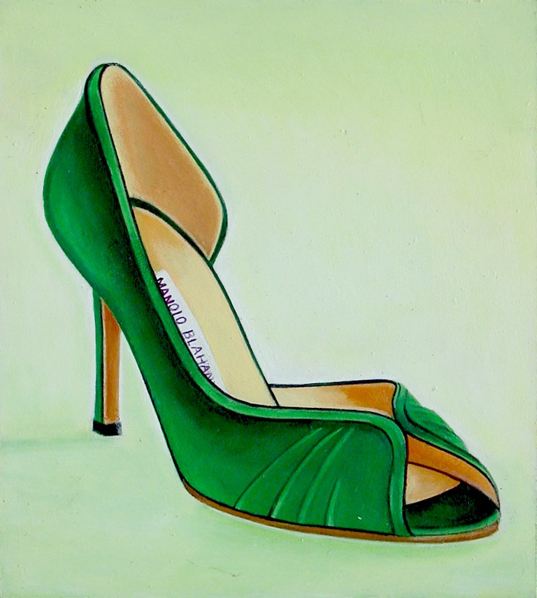 """Manolo Blahnik 3- Still Life Painting Of Women High Heels Green Manolo Blahnik Shoe"" original fine art by Gerard Boersma"