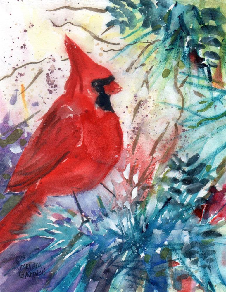 """Red Bird"" original fine art by Melissa Gannon"