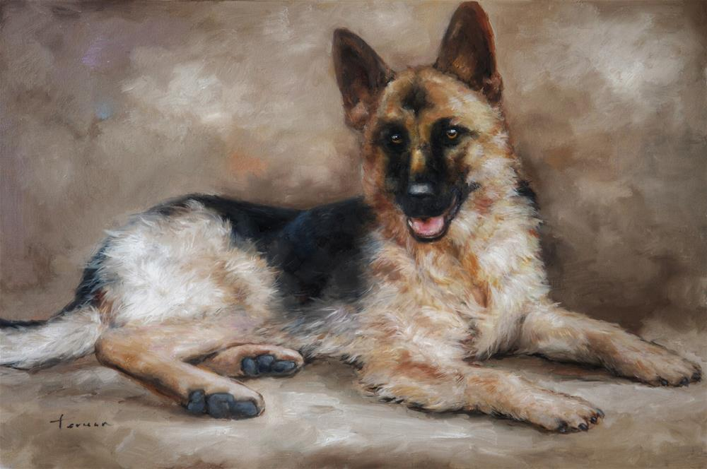 """Dog in pose"" original fine art by Teresa Yoo"