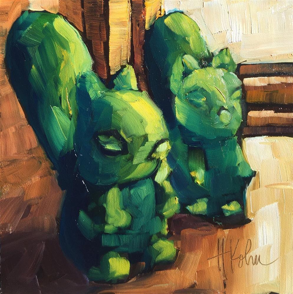 """""""Squirrels"""" original fine art by Hallie Kohn"""