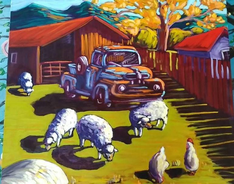 """Late afternoon on the sheep farm"" original fine art by Robyn Wellman"