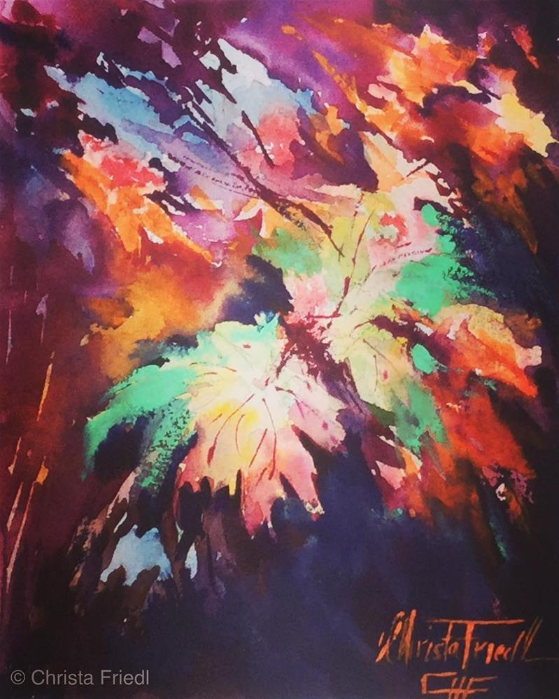 """Fall colorful leaves"" original fine art by Christa Friedl"