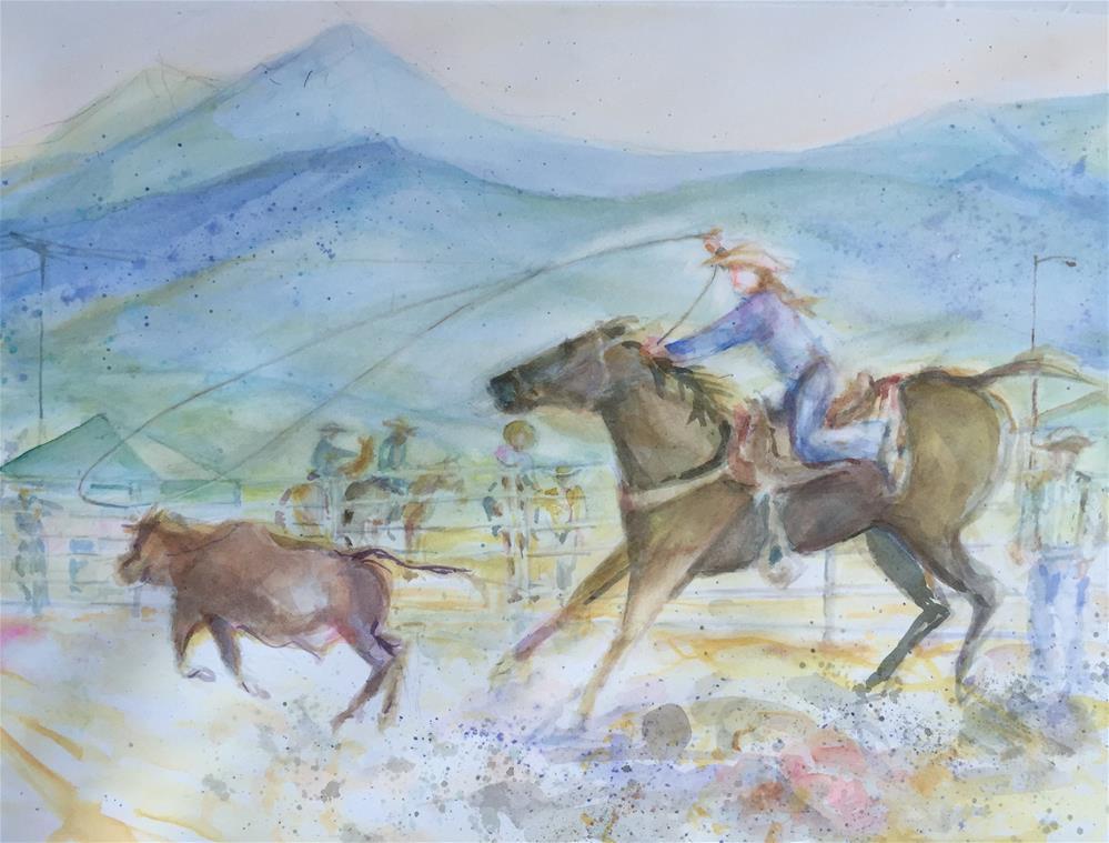 """Calf Roping, Stampede Rodeo, Westcliffe, CO"" original fine art by Jean Krueger"