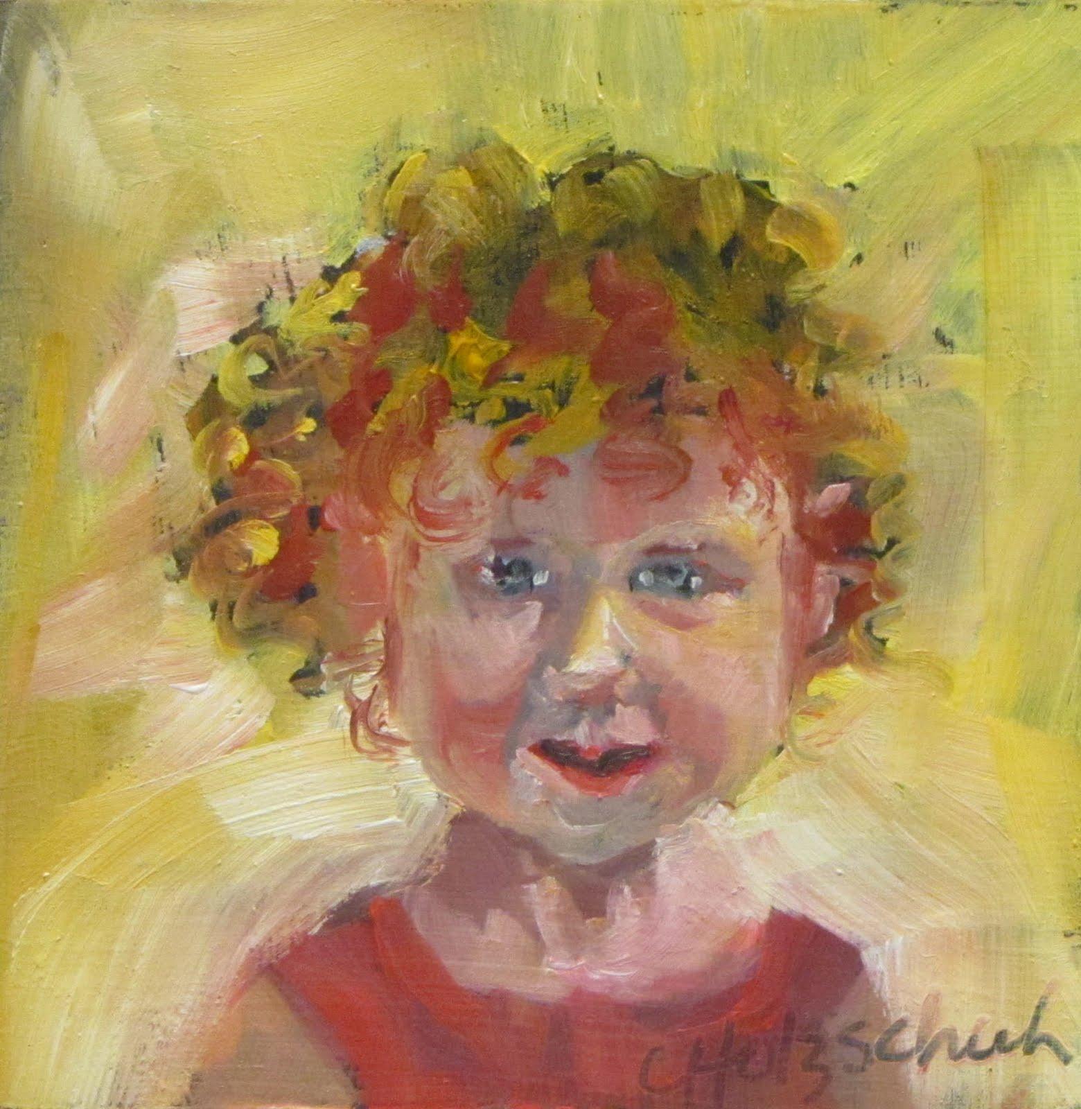 """Samara    oil 4x4  #338"" original fine art by Christine Holzschuh"