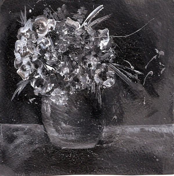 """""""Black and White Floral Bouquet in Vase"""" original fine art by Penny Lee StewArt"""