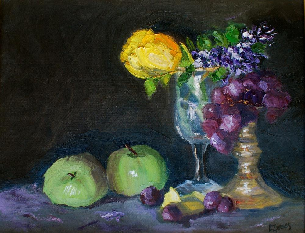 """Green Apples with Yellow Tulip and Red Grapes"" original fine art by Liz Zornes"