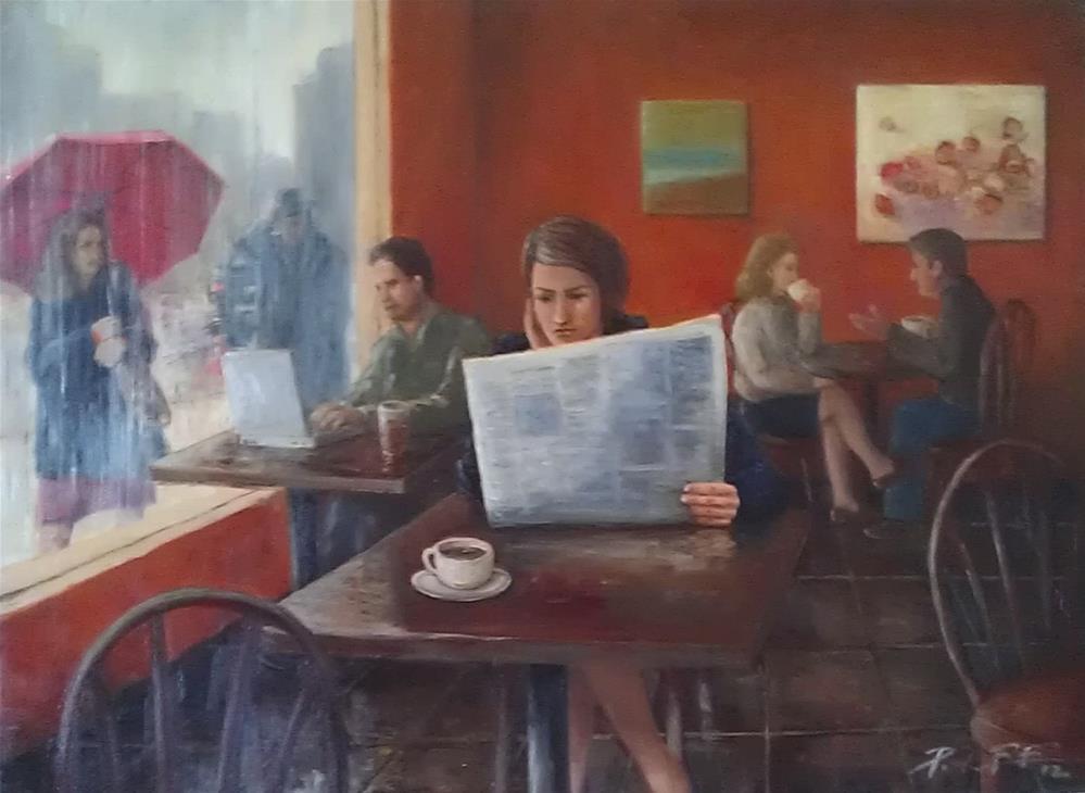 """Rainy Cafe"" original fine art by Peter Lee"
