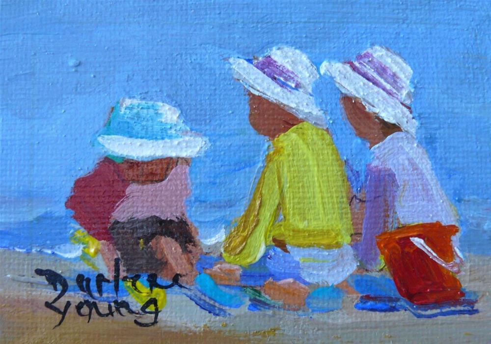 """864 Little White Caps, oil on board, 2.5 x 3.5"" original fine art by Darlene Young"