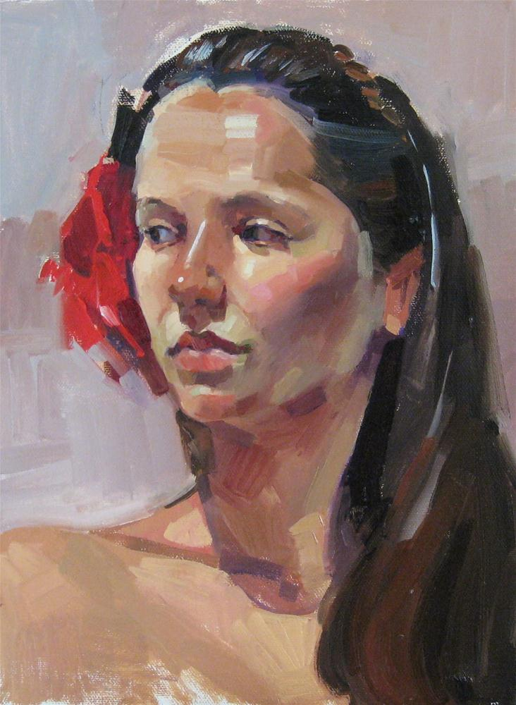 """Ali with a Rose Female portrait painting from life"" original fine art by Sarah Sedwick"