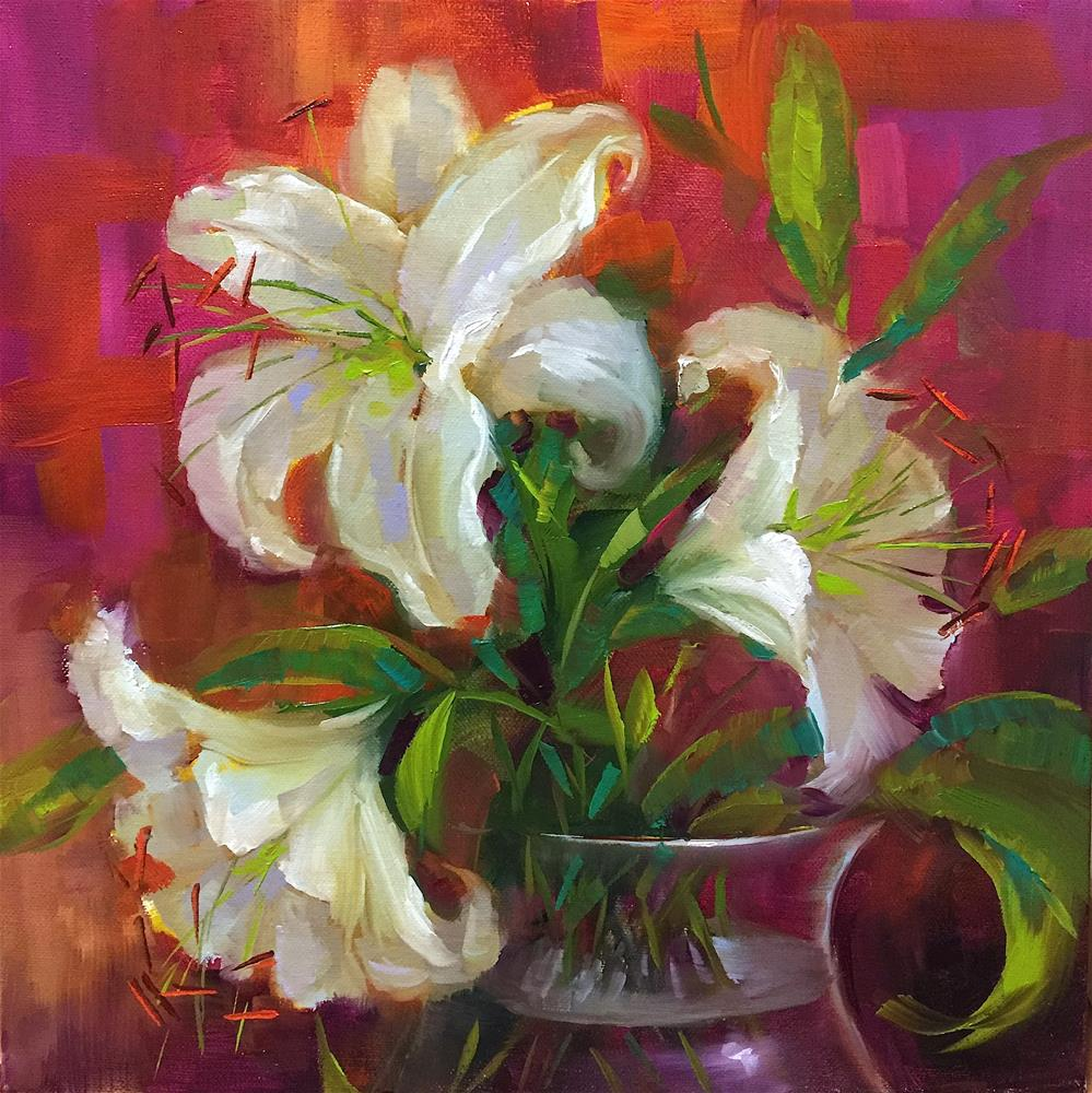 """Pink Angel White Lilies and a Win a Trip to Italy"" original fine art by Nancy Medina"