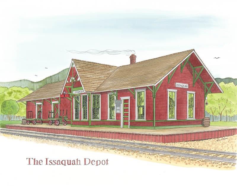 """The Issaquah Depot"" original fine art by Heidi Rose"