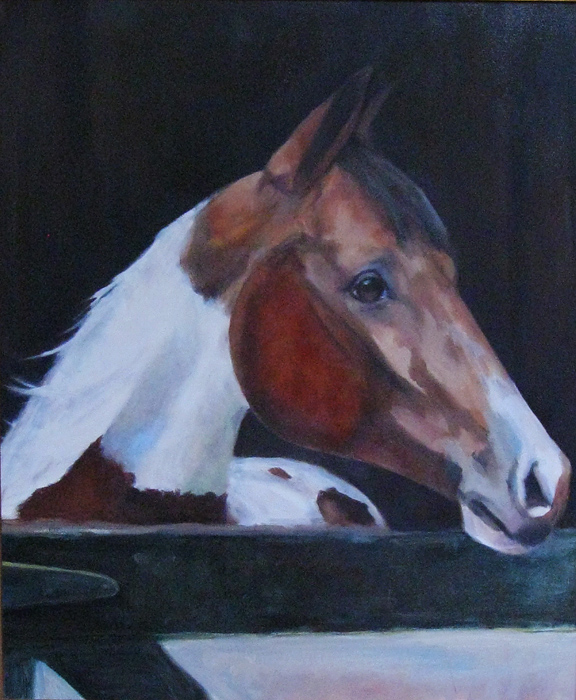 """Spotted in Texas (Stable Name - Spotty)"" original fine art by Donna Thomas"