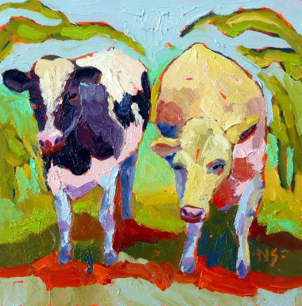 """Cow's in the Corn 13026"" original fine art by Nancy Standlee"
