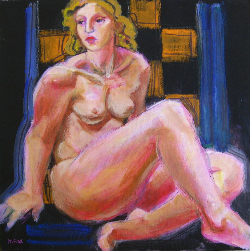 """""""Nude woman figurative painting, contemporary realism figuration painter"""" original fine art by Marie Fox"""