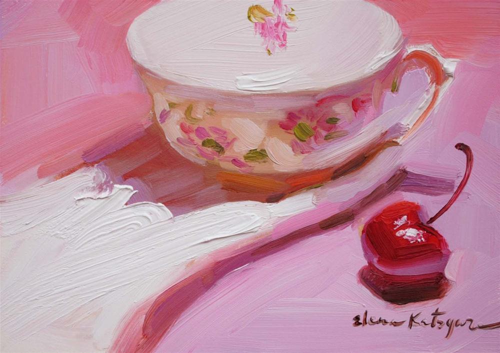 """Teacup on Pink"" original fine art by Elena Katsyura"