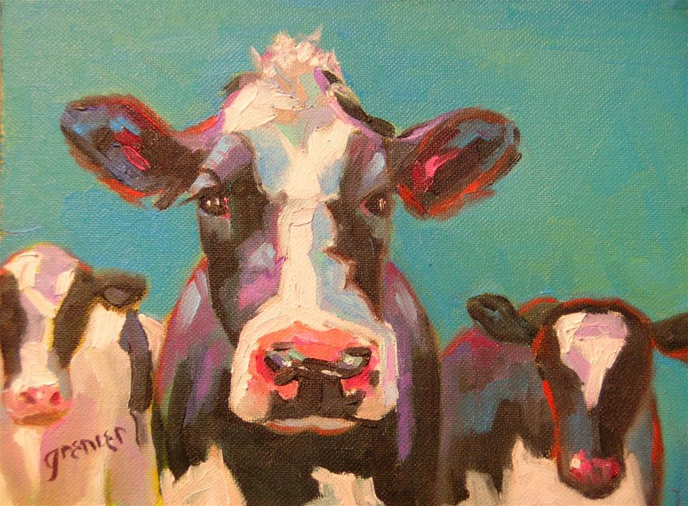 """Black and White Cows Original Oil Signed by Jean Grenier"" original fine art by jean grenier"