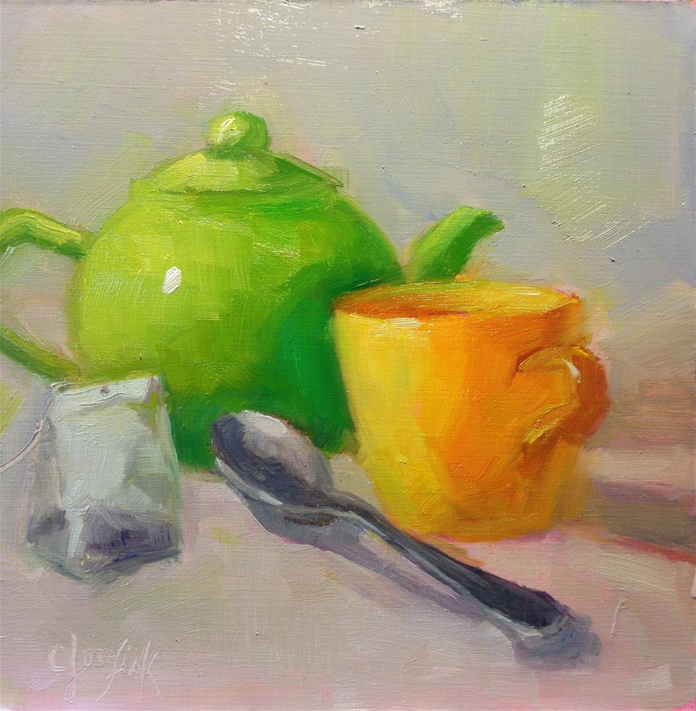 """""""Tea Time"""" original fine art by Carol Josefiak"""