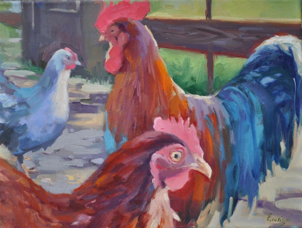 """""""Jen's Flock oil on canvas 12x16"""" original fine art by Emiliya Lane"""