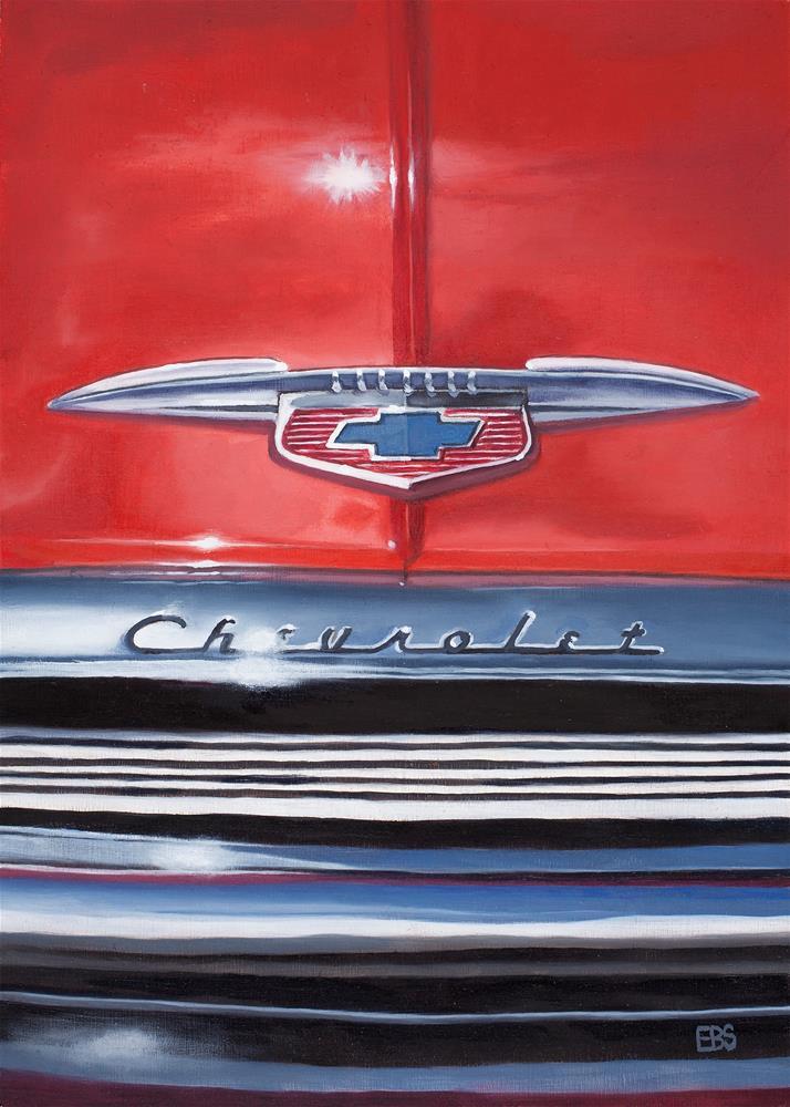 """1956 Red Chevy Grill"" original fine art by Elaine Brady Smith"