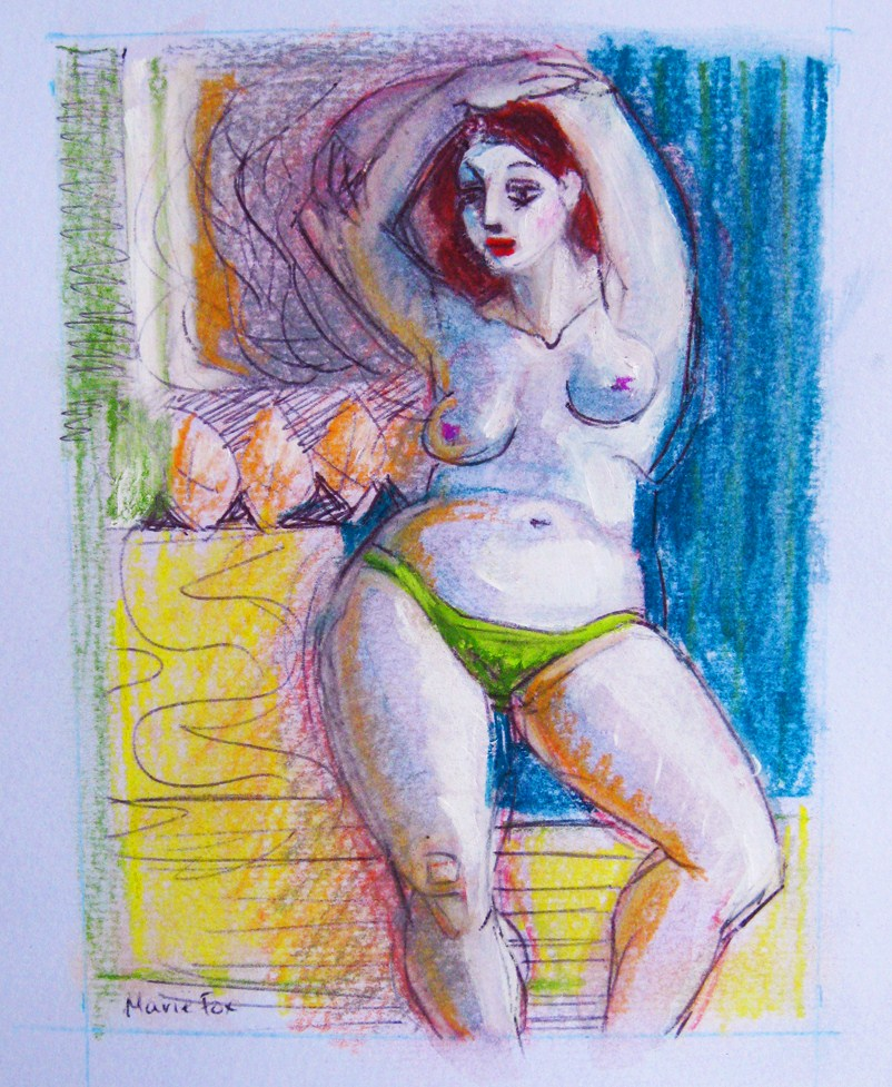 """Standing Woman, figurative drawing, figure painting, figuration, woman, nude, contemporary figurativ"" original fine art by Marie Fox"