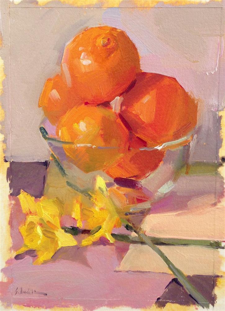 """Sketch for 'Crossed Daffodils'"" original fine art by Sarah Sedwick"