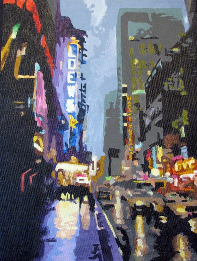 """""""West 42nd Street"""" original fine art by Nan Johnson"""