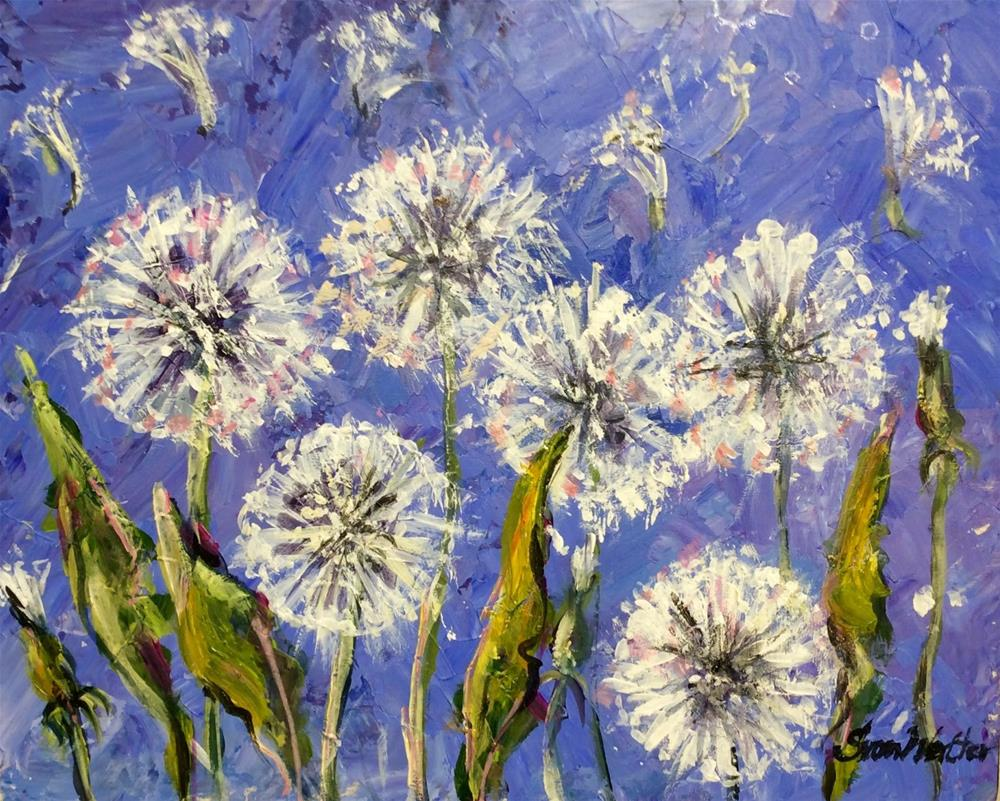 """Dandelions on blue"" original fine art by Sonia von Walter"