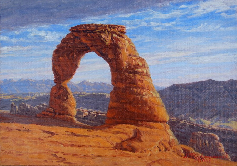 """""""C1645 """"Late Afternoon at Delicate Arch"""" (Arches National Park, Utah)"""" original fine art by Steven Thor Johanneson"""