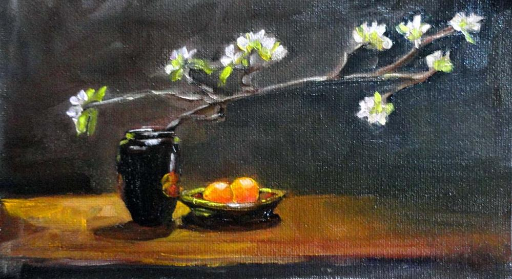 """Arrangement With Apple Blossoms & Oranges"" original fine art by Cietha Wilson"