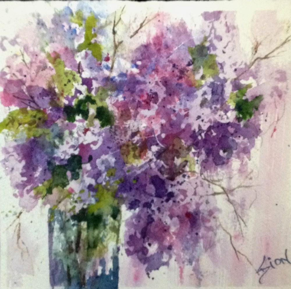 """Thursday Night Lilacs"" original fine art by Sue Dion"