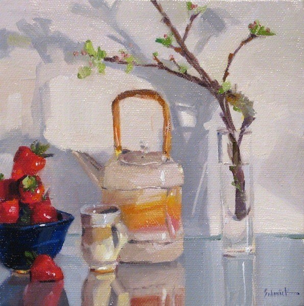 """""""Teapot and Strawberry Reflections still life fruit tea daily painting $1 ebay auction"""" original fine art by Sarah Sedwick"""
