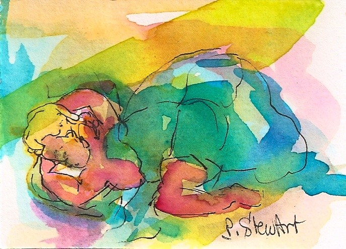 """""""ACEO: Don't Wake The Baby. Infant sleeping under a quilt.  Original WC & Pen"""" original fine art by Penny Lee StewArt"""