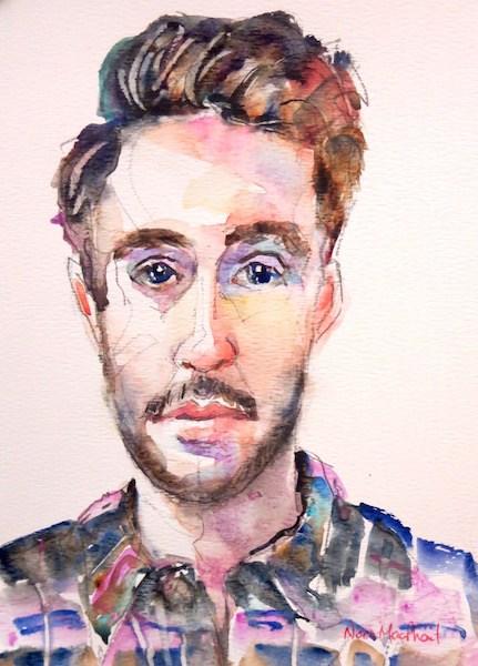 """man in plaid"" original fine art by Nora MacPhail"