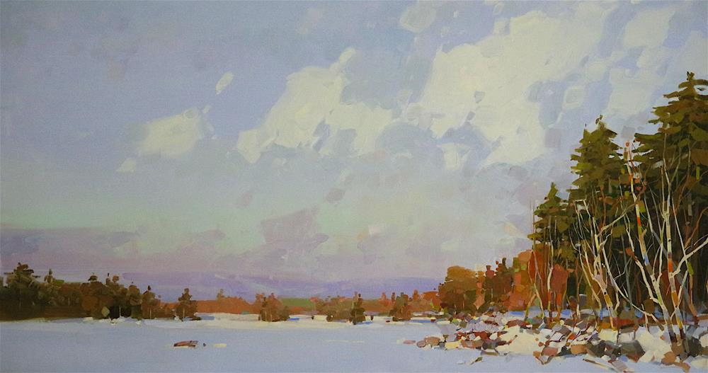 """""""Lake in New Hampshire, Landscape oil Painting, One of a kind"""" original fine art by V Y"""