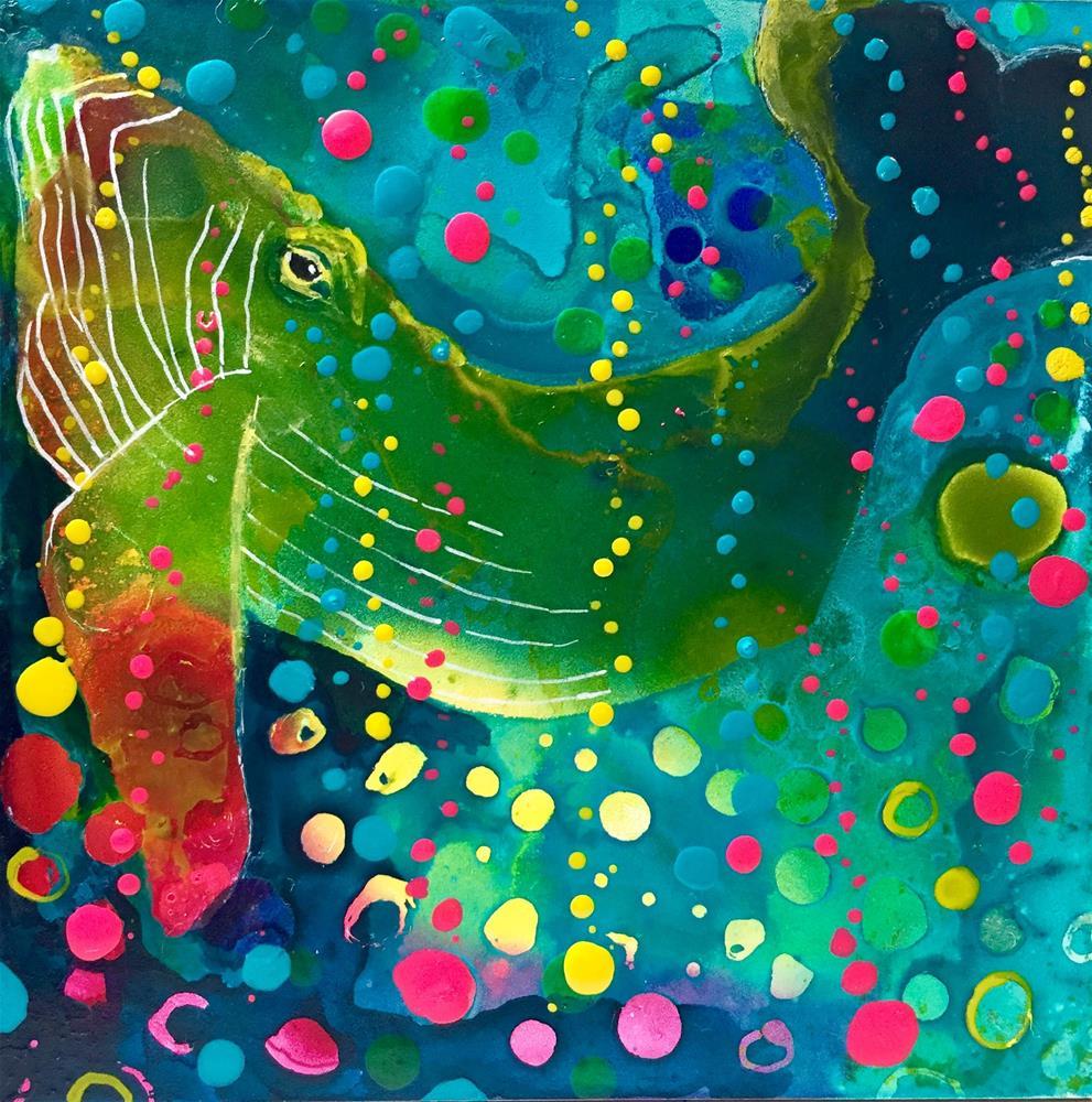 """""""#90 Happy Bubbles"""" original fine art by Silke Powers"""