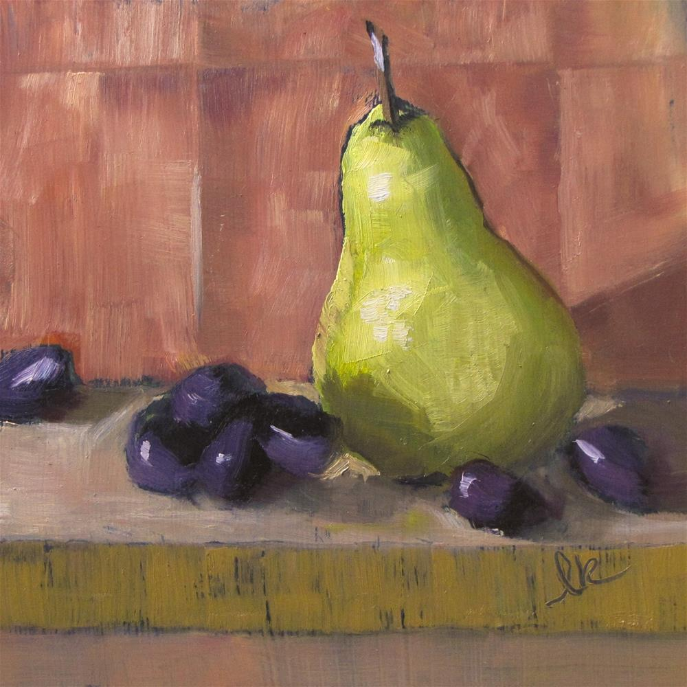 """Pear and Grapes"" original fine art by Louise Kubista"