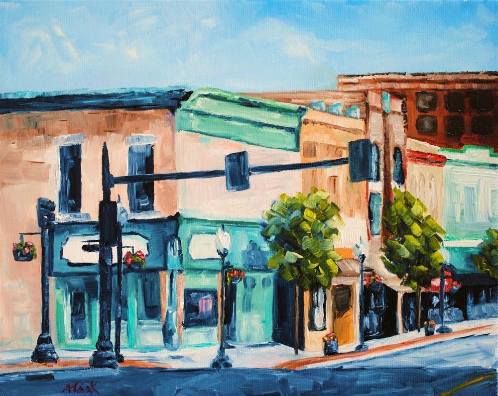 """Street Corner on Sunday"" original fine art by Alison Kolkebeck"