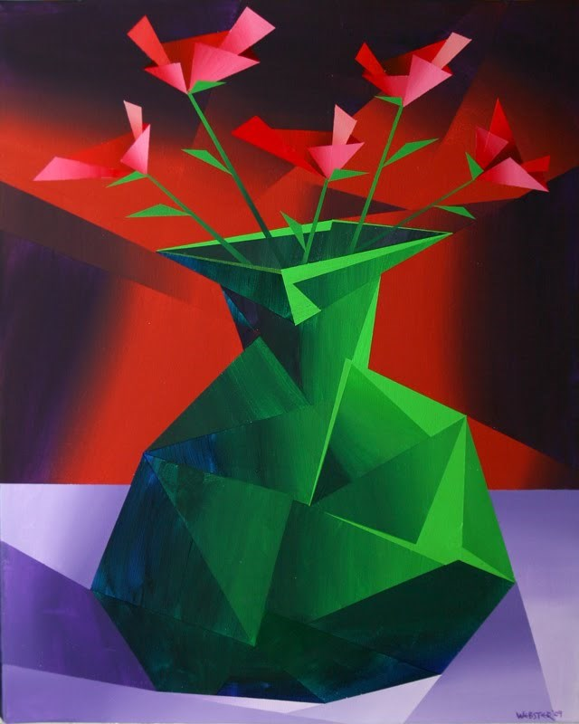 """""""Mark Webster - Abstract Red Roses in Green Vase Prism Acrylic Painting"""" original fine art by Mark Webster"""