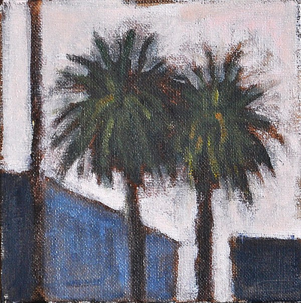 """Twilight Palms in Hillcrest"" original fine art by Kevin Inman"