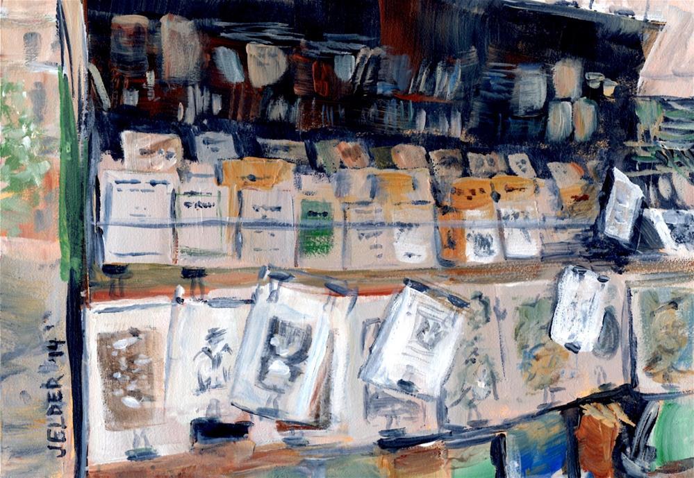 """Another Bouquiniste, Paris No. 54"" original fine art by Judith Elder"